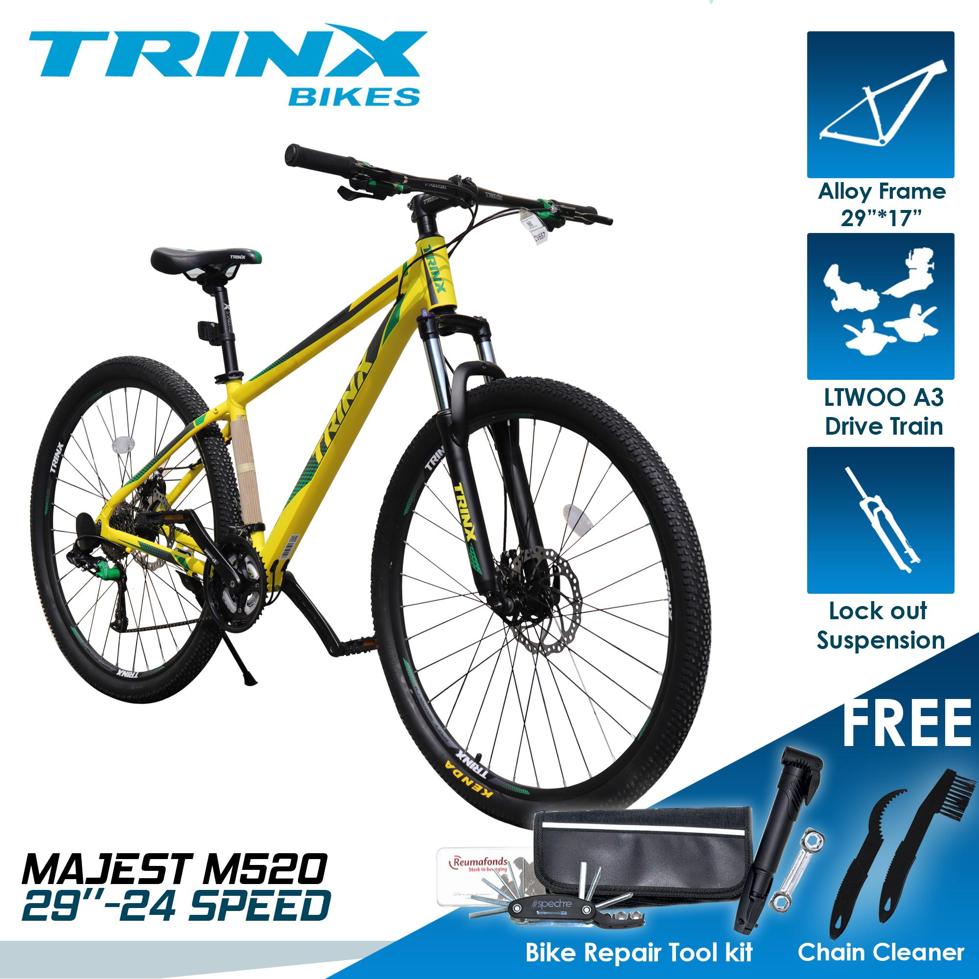 TRINX M520 29er- 24 SPEED LTWOO GROUPSET MOUNTAIN BIKE with FREE - BIKE  TIRE REPAIR KIT and 2 in 1 CHAIN CLEANER