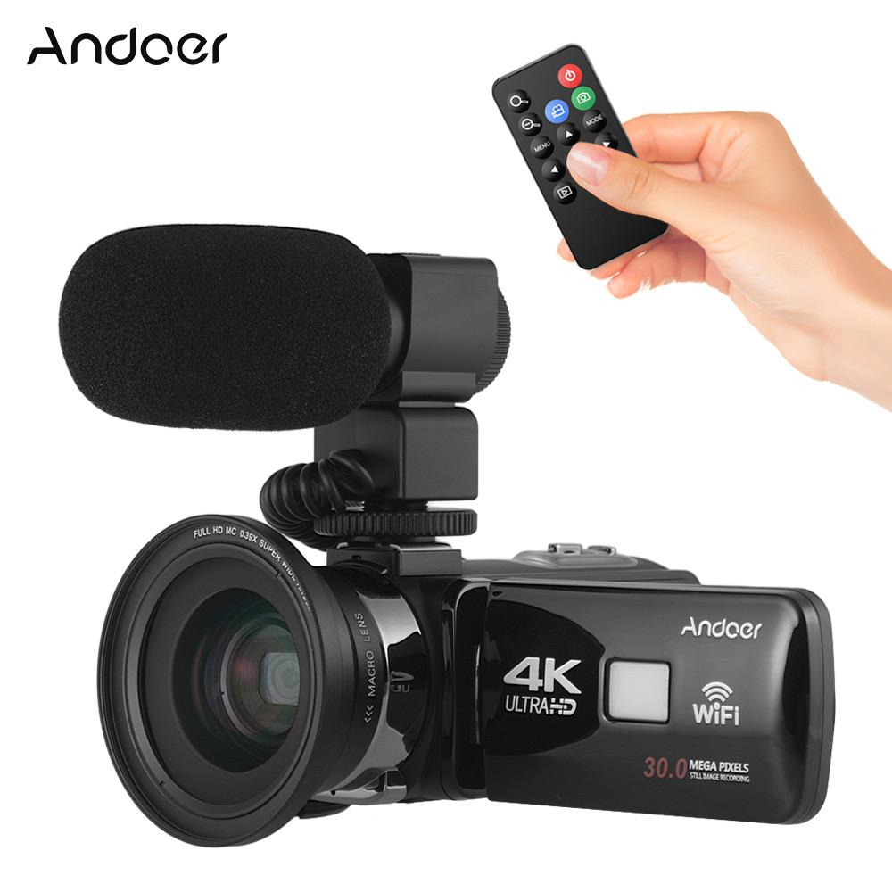 """Andoer 4K Ultra HD WiFi Digital Video Camera Camcorder DV Recorder 16X Zoom 3.0"""" LCD Touchscreen IR Night Vision with Hot Shoe Mount + External Microphone + 0.39X Wide Angle Lens"""