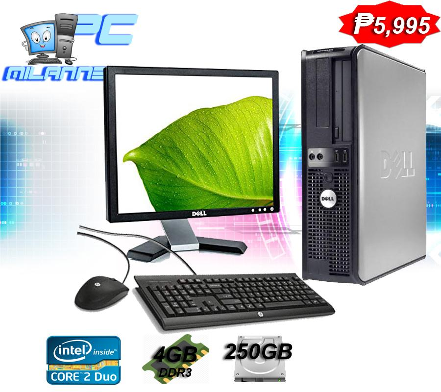 Dell Optiplex / Hp Compaq Dell Monitor 17 Inch Desktop Computer Set Dual  Core, 4GB RAM, 250GB HDD, Slim type Desktop Computer Package