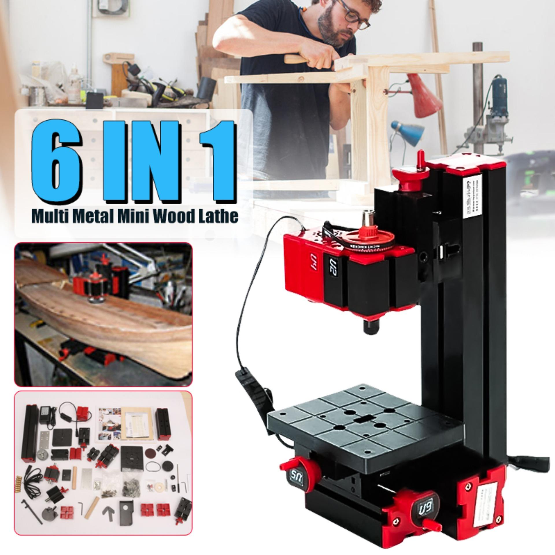 【Free Shipping + Super Deal + Limited Offer】6 In 1 Multi Metal Mini Wood  Lathe Motorized Jig-saw Grinder Driller Milling