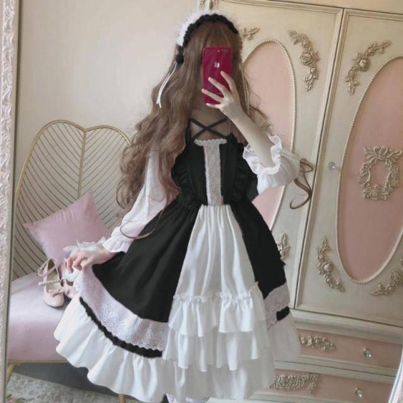 Váy lolita loli cô gái dịu dàng kiểu Nhật váy liền đáng yêu vóc dáng nhỏ op váy lolita váy tiên nữ học sinh nữ