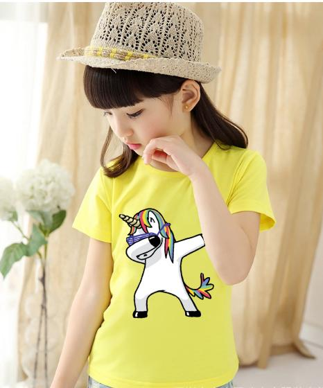 Tshirt For Unisex Kids Swag Unicorn T-Shirt Boys T-Shirt Girls Cartoon Pattern T-Shirt Children Summer Short Sleeves 100% Cotton Tee K1905 By Green Box.