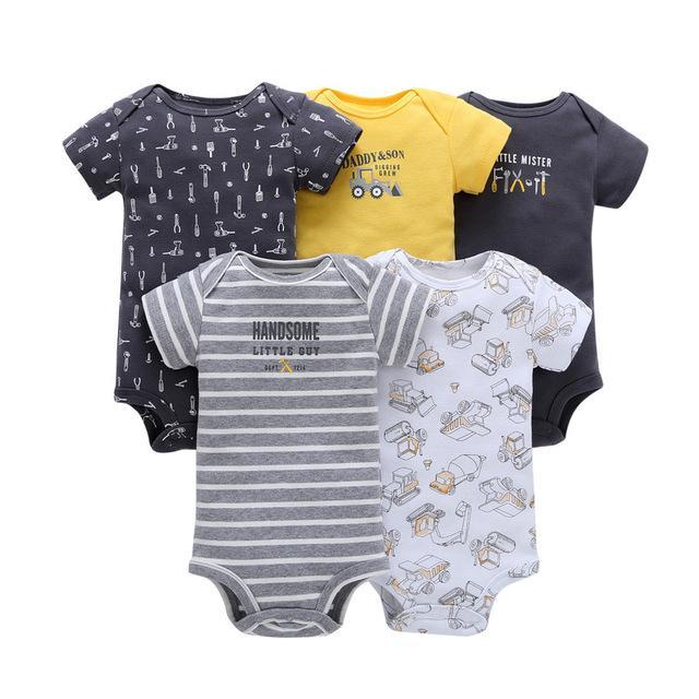 2 Pack 100/% Cotton Babygrows Boys Girls Newborn Baby Grow Bodysuit Romper