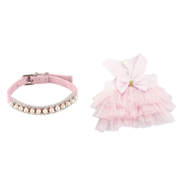 Store Rhinestone Pearl Chain Dog Collar Princess Collars M with Wedding Dog Dress for Dog Clothes L Pink
