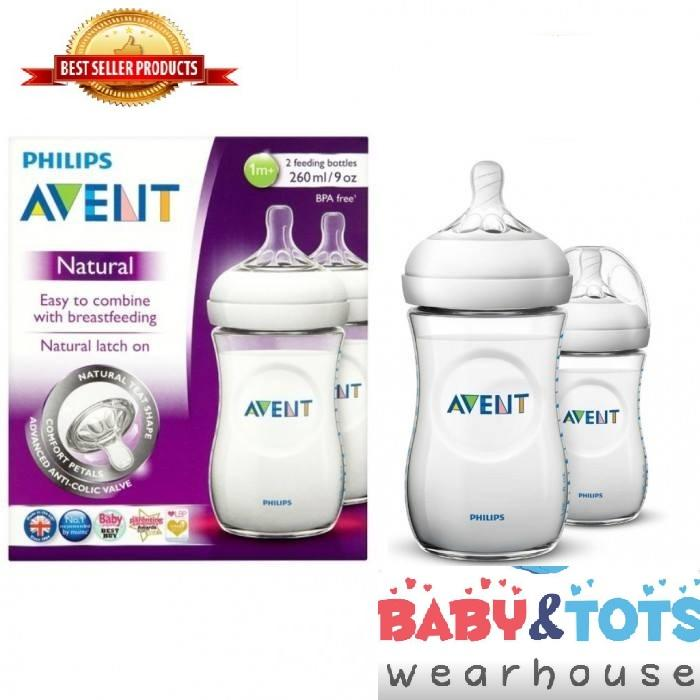 Philips Avent Natural 260ml 9oz 2pack Feeding Bottles By Baby&tots Wearhouse.