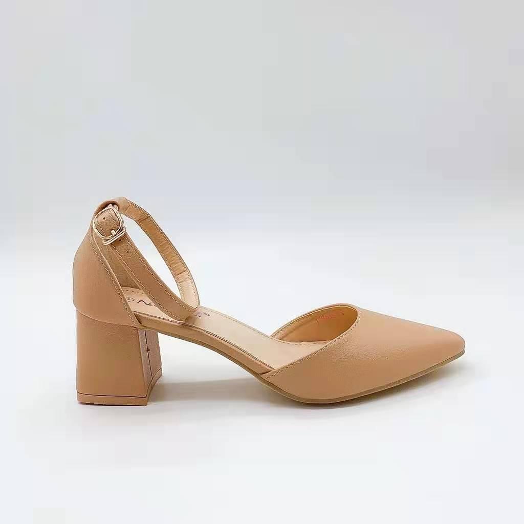 Korean Pointed Closed Toe Block Heel