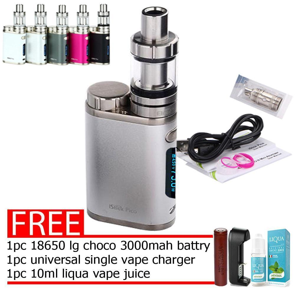 Eleaf iStick Pico 75W Starter Kit Vape E-Cigarette Smok ,Vape (Silver) With  Free 1pc 18650 LG Choco 3000mah Battery 1pc Universal Single Charger and