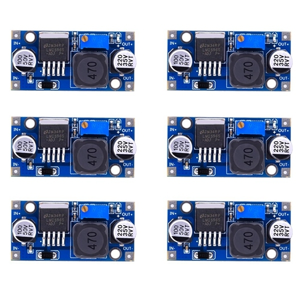 6 Pack LM2596 DC to DC Buck Converter 3.0-40V to 1.5-35V Power Supply Step Down Module (6 Pack)