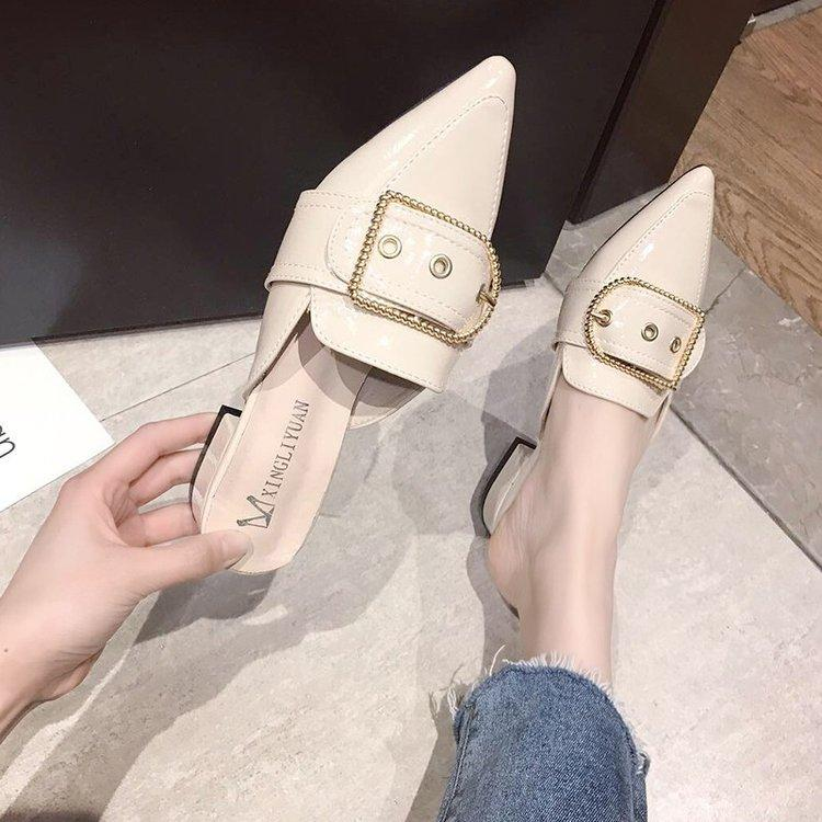 f230aa405b5b 2019 New Style Pointed Mules Shoes Patent Leather Closed-toe Semi-Slipper  Low Heel