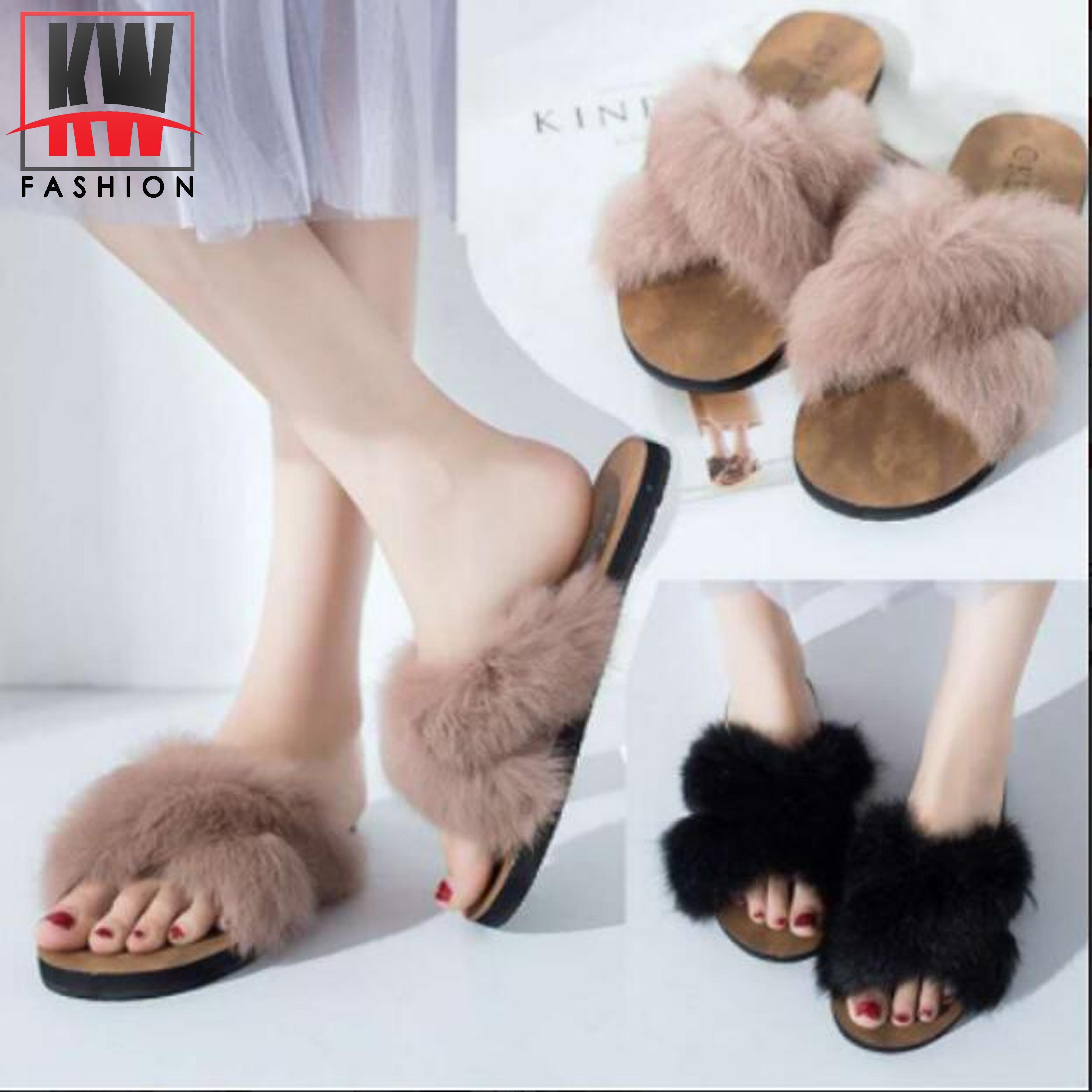 e60293dfdd1b KW Korean Ladies Summer Fur Decorate Flat Wooden Sandal KW-8812 Adjust One  Size