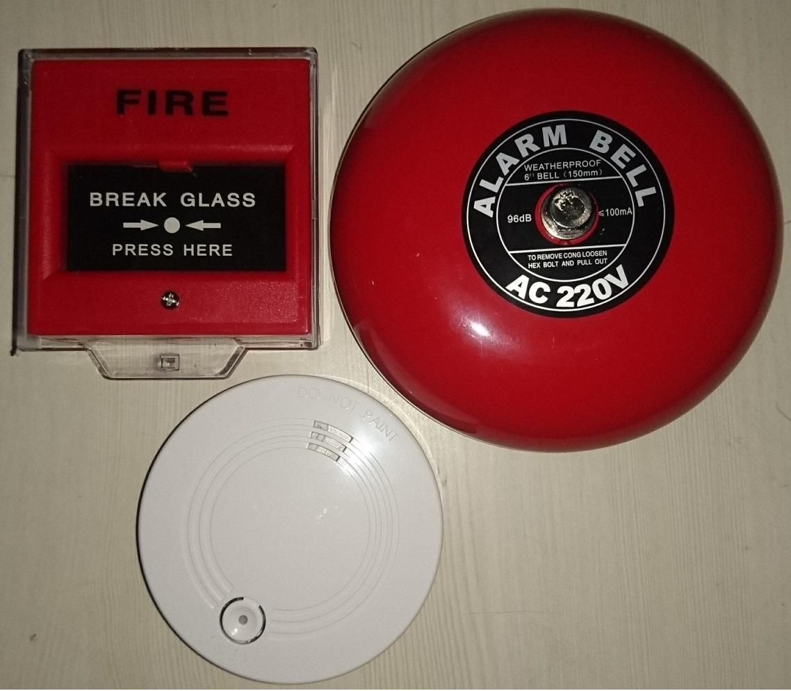 Fire Alarm Bell 6in 220V & Break Glass / Call Point / Manual Push Station,  and 9V Smoke Detector