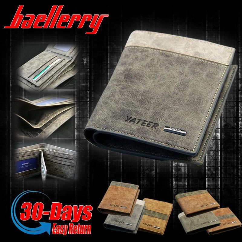 baellerry Vintage Canvas Men Short Wallet Nubuck Leather Pochette Money Coin Transverse Purse Card Holder
