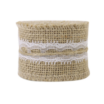 5cm Wide x 2m/Roll Linen Lace with Natural Burlap Ribbon Rustic Wedding Decor Christmas Gift Linen Wrapping Brown - Intl