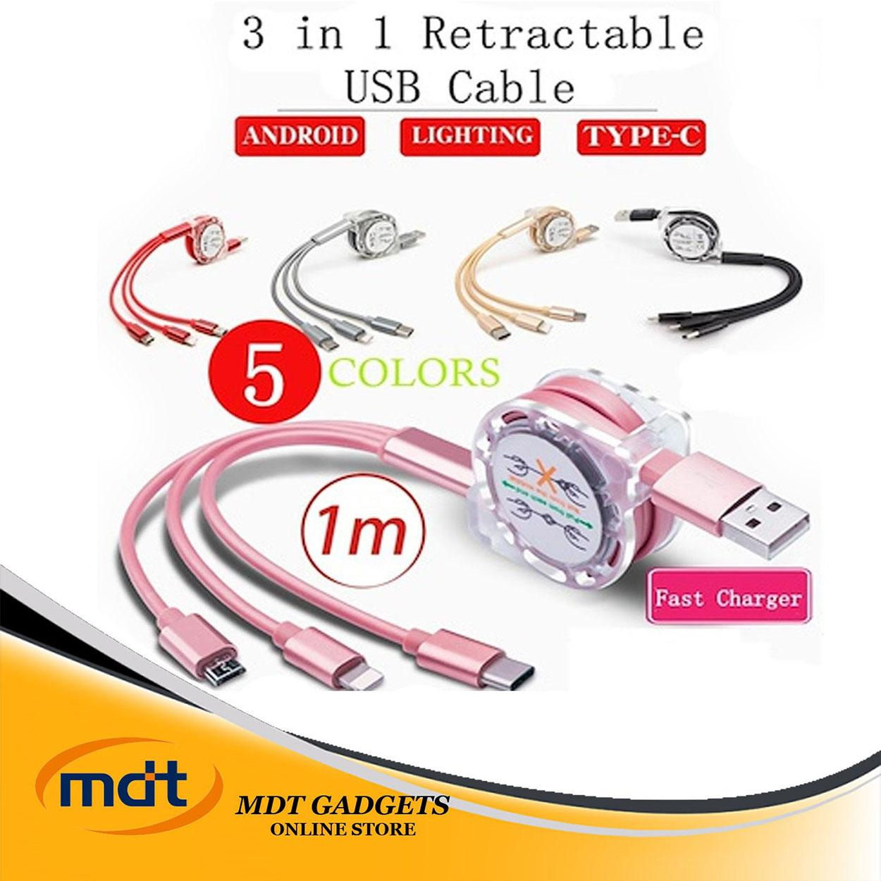 Retractable phone charger for Android/iOS/type c (COLOR MAY VARY)