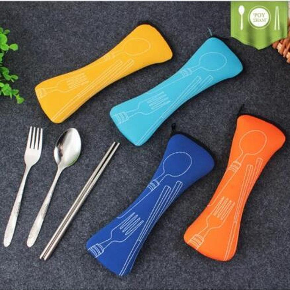 3pcs Spoon Fork And Chopstick Set With Pouch By Tickle Me Not.