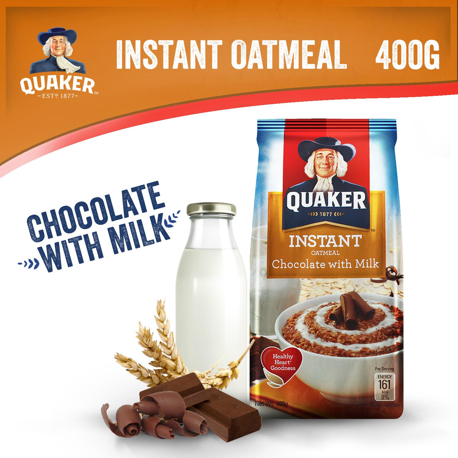 Quaker Instant Oatmeal Chocolate With Milk Flavor 400g By Quaker.