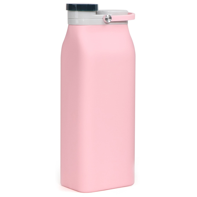 Collapsible Silicone Water Bottle Portable Foldable Sports Canteen for Travel and Outdoor - BPA Free Leak Proof 20Oz Pink