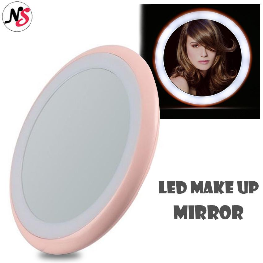 Portable LED Make Up Mirror 12 LED Bulbs Cosmetic Mirror, Pocket Makeup Mirror With Light For Women And Girls (Pink) Philippines
