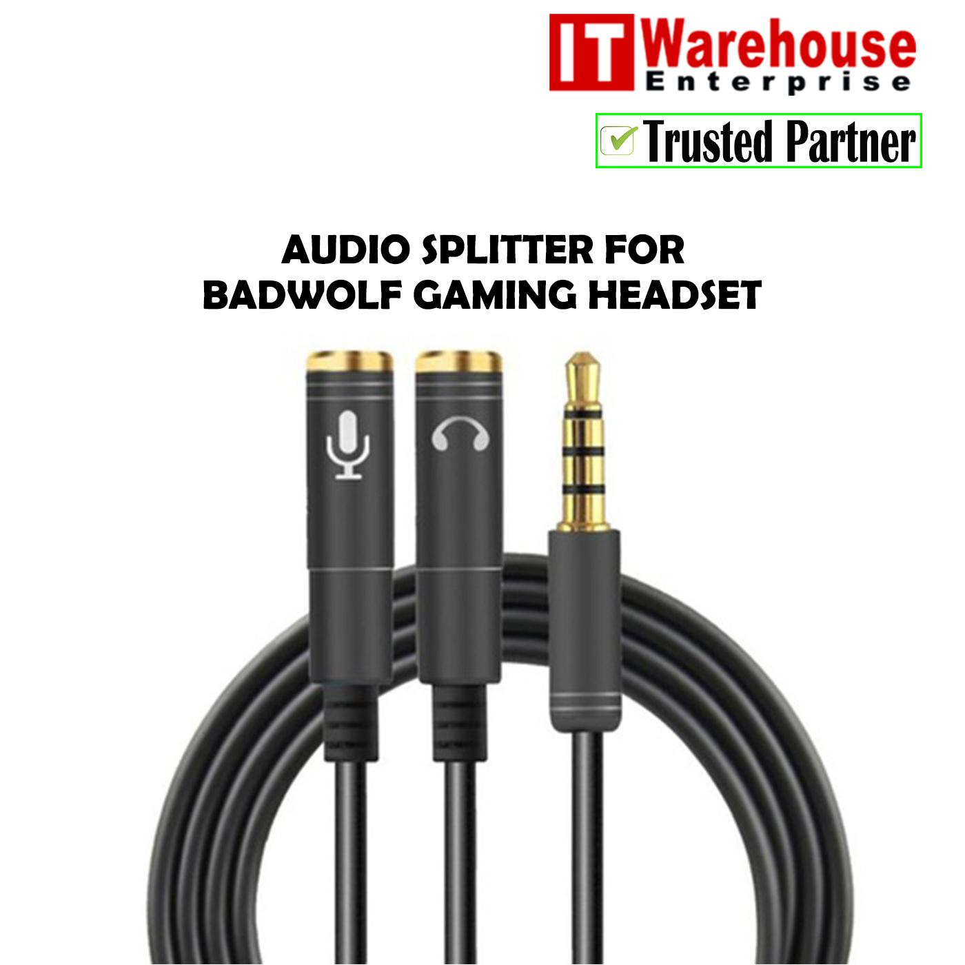 Badwolf Premium Audio Splitter 3.5mm Male To 2 Port 3.5mm Female Audio Stereo Y Splitter Cable Adapter For Earphone Headphone Headset And Microphone (black) For Badwolf Gaming Headset By It Warehouse Enterprise.
