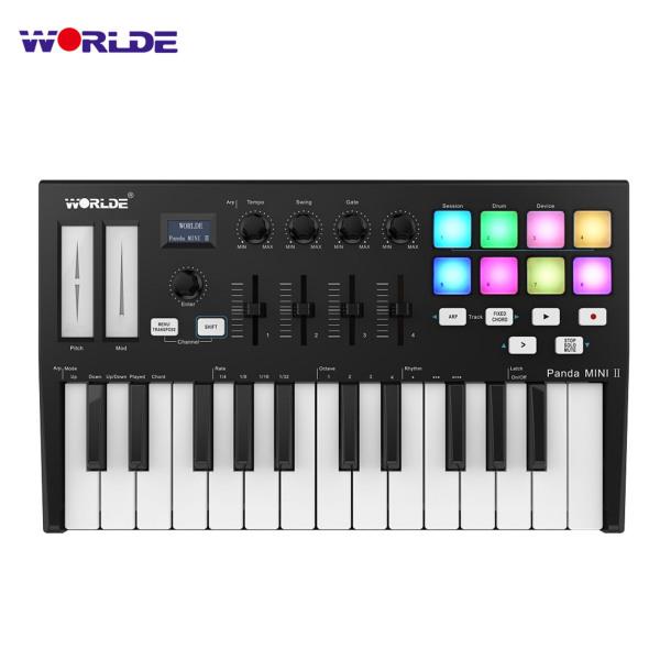 WORLDE Panda MINI II Portable 25-Key USB MIDI Keyboard Controller with 8 RGB Backlit Trigger Pads 4 Assignable Control Knobs 4 Assignable Sliders Malaysia