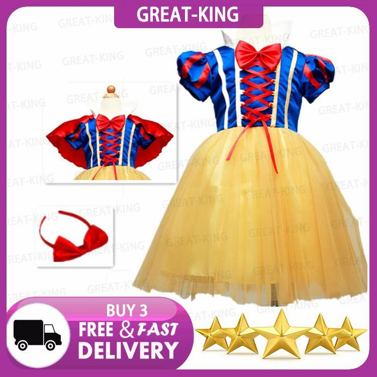 db716d515abc Great-King New cosplay Snow White Princess Dress with Red Cape and Bow Kid  Girl