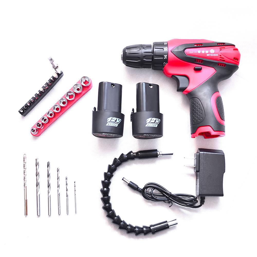 MITSUSHI Cordless Drill with 12V Li-ion and Accessories(2 pcs battery)  (Teratools)