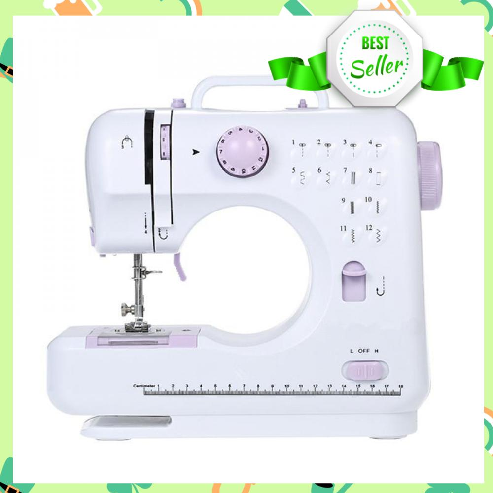 12 Stitches Mini Sewing Machine Portable Knitting Machine Multifunction  Electric Replaceable Presser Foot Motor Sewing Machine (White)
