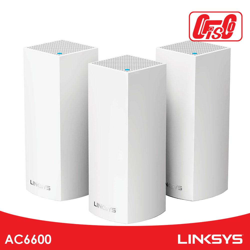 Linksys Velop Intelligent Mesh WiFi System, Tri-Band, 3-Pack White (AC6600)