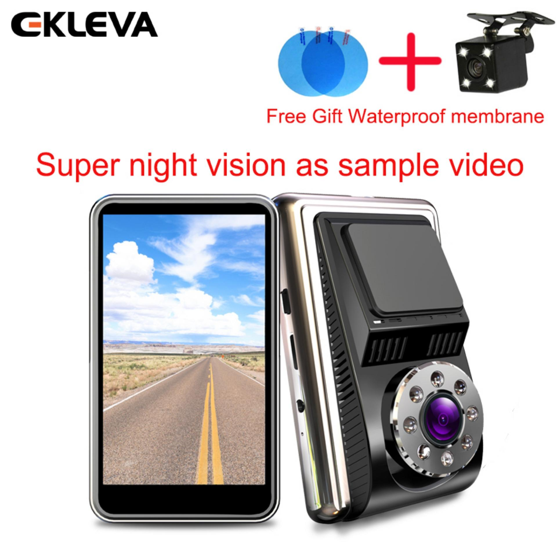 "EKLEVA Dual Dash Cam FHD 1080P Front And Rear Night Vision Car Camera, 4"" IPS Touch Screen 170 and 140 Dual Lens, Dashboard Cameras with G-Sensor, Parking Monitoring, Motion Detection, Loop Recording, Super Night Vision with Free Gift Waterproof Film"