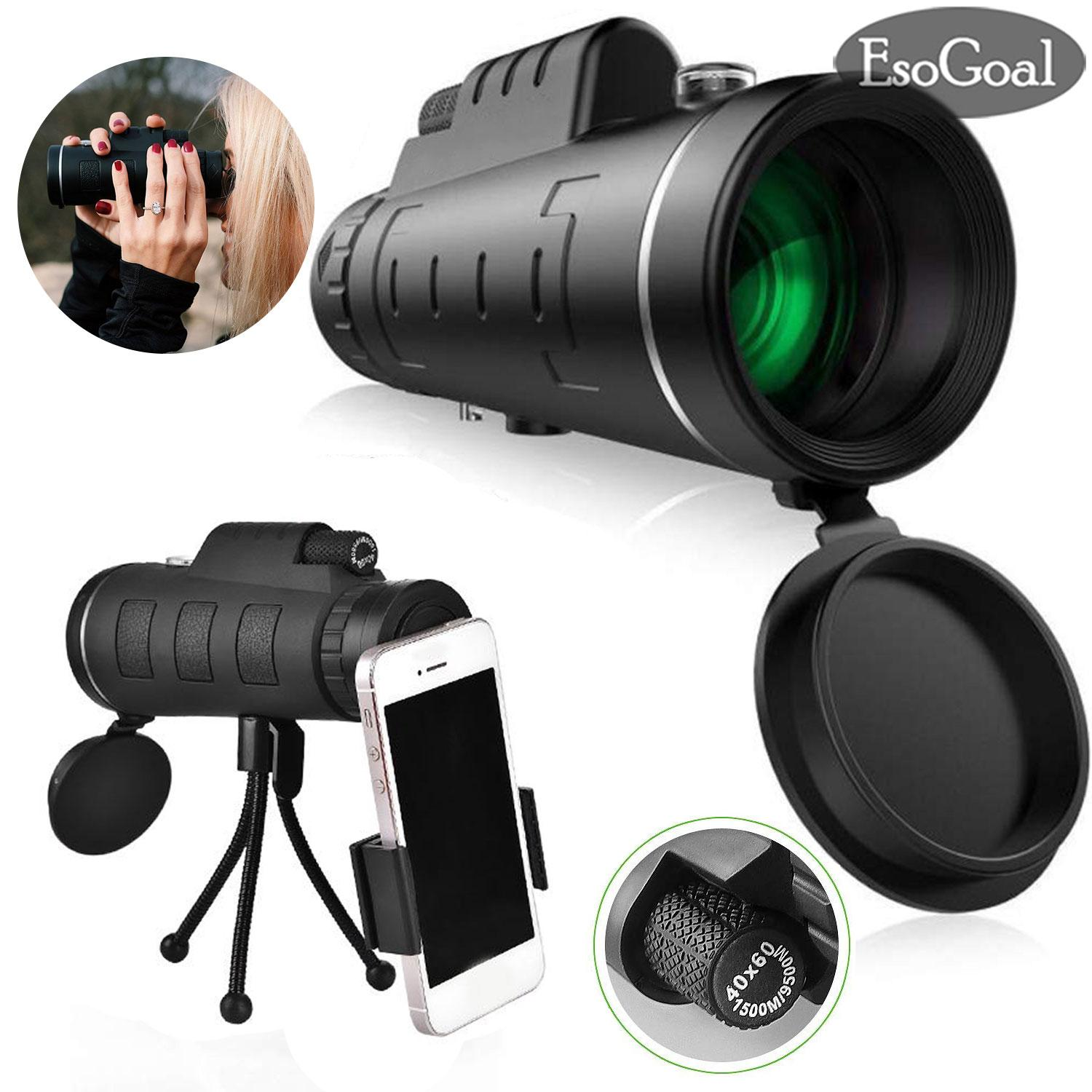 Esogoal Mini Monocular Telescope Super Zoom 40 X 60 Dual Focus Night Vision Hd Monocular Prism Scope With Compass, Phone Clip Tripod, Phone Holder For Stargazing, Camping, Bird Watching, Hiking And Sports By Esogoal.