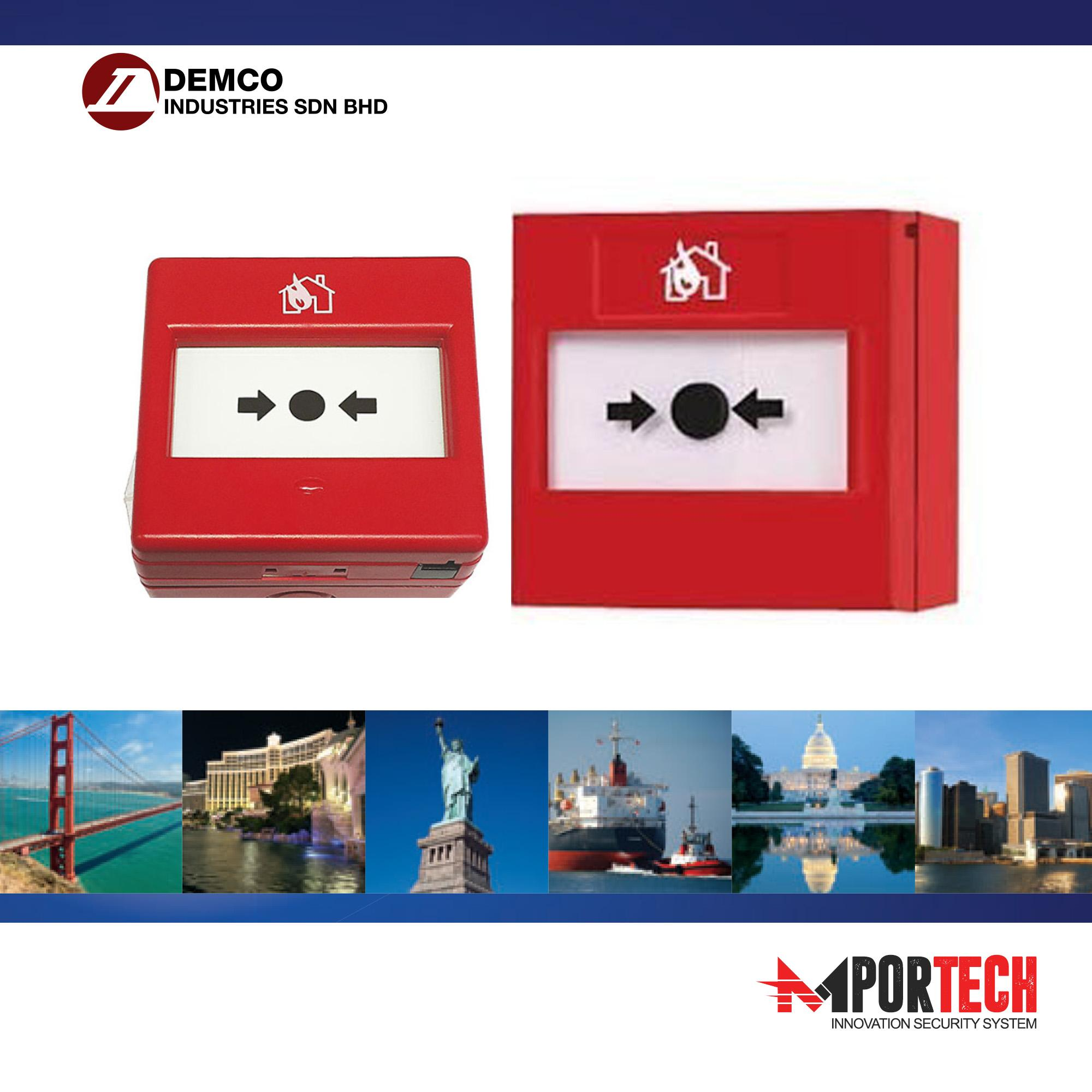 Fire Alarm Pull Station Resettable Manual Call Point 12/24V DC 10A (Red)  D-128 - Demco Malaysia