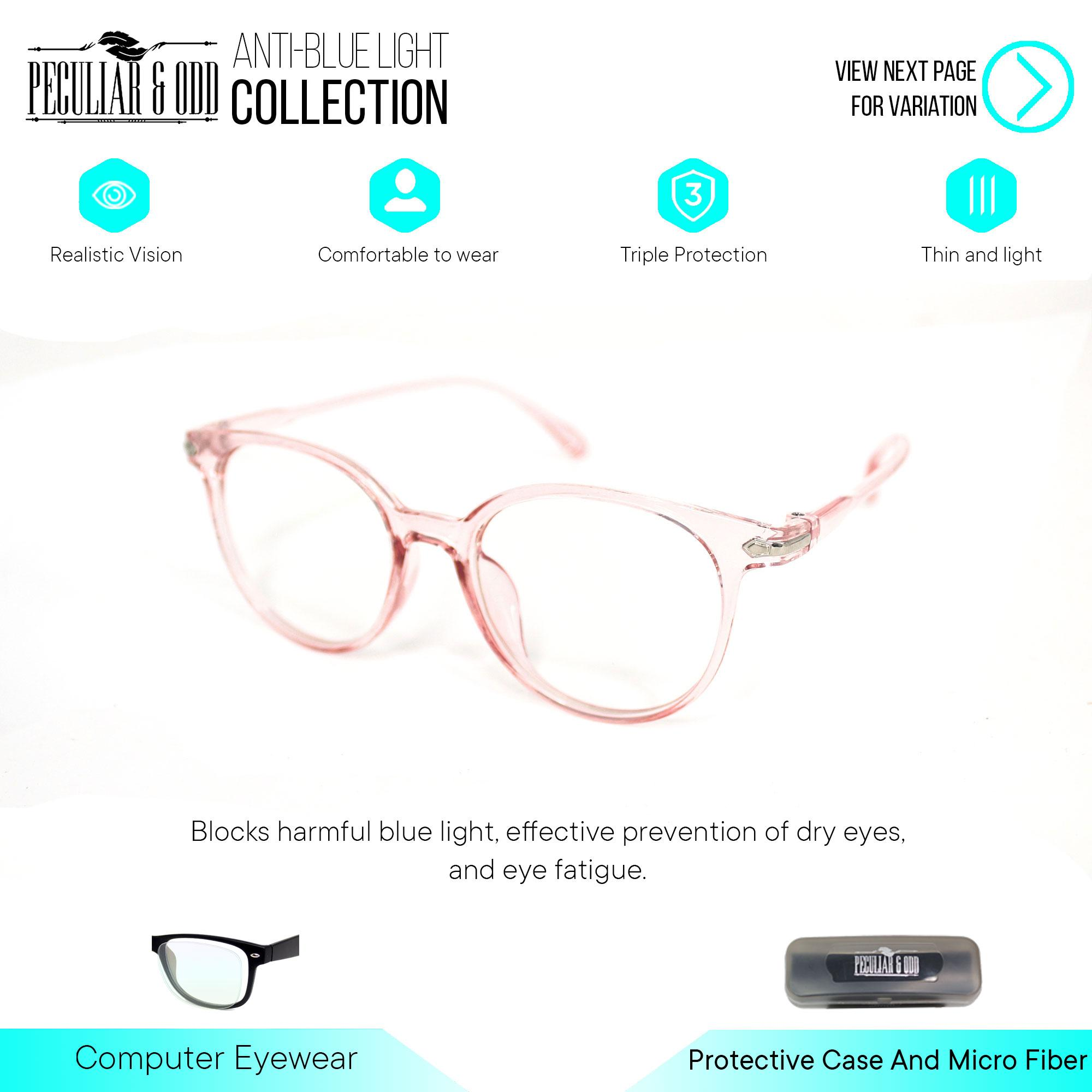6238b5a27b33 Peculiar Optical Round 15959 TransPinkClear Anti Radiation Blue Lens Pink  Frame Computer Eyeglass in Thin Frame with