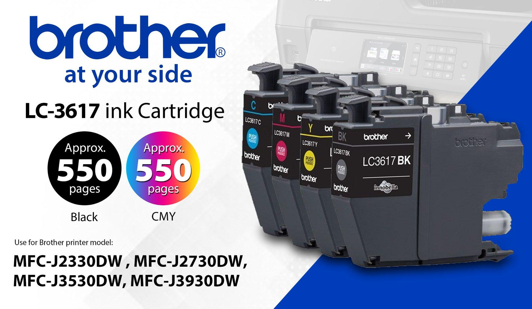 Brother Colour Inkjet Multi-Function LC3617 for  MFC-J3930/MFC-J3530/MFC-J2730/MFC-J2330 C/M/Y/K Set Colors