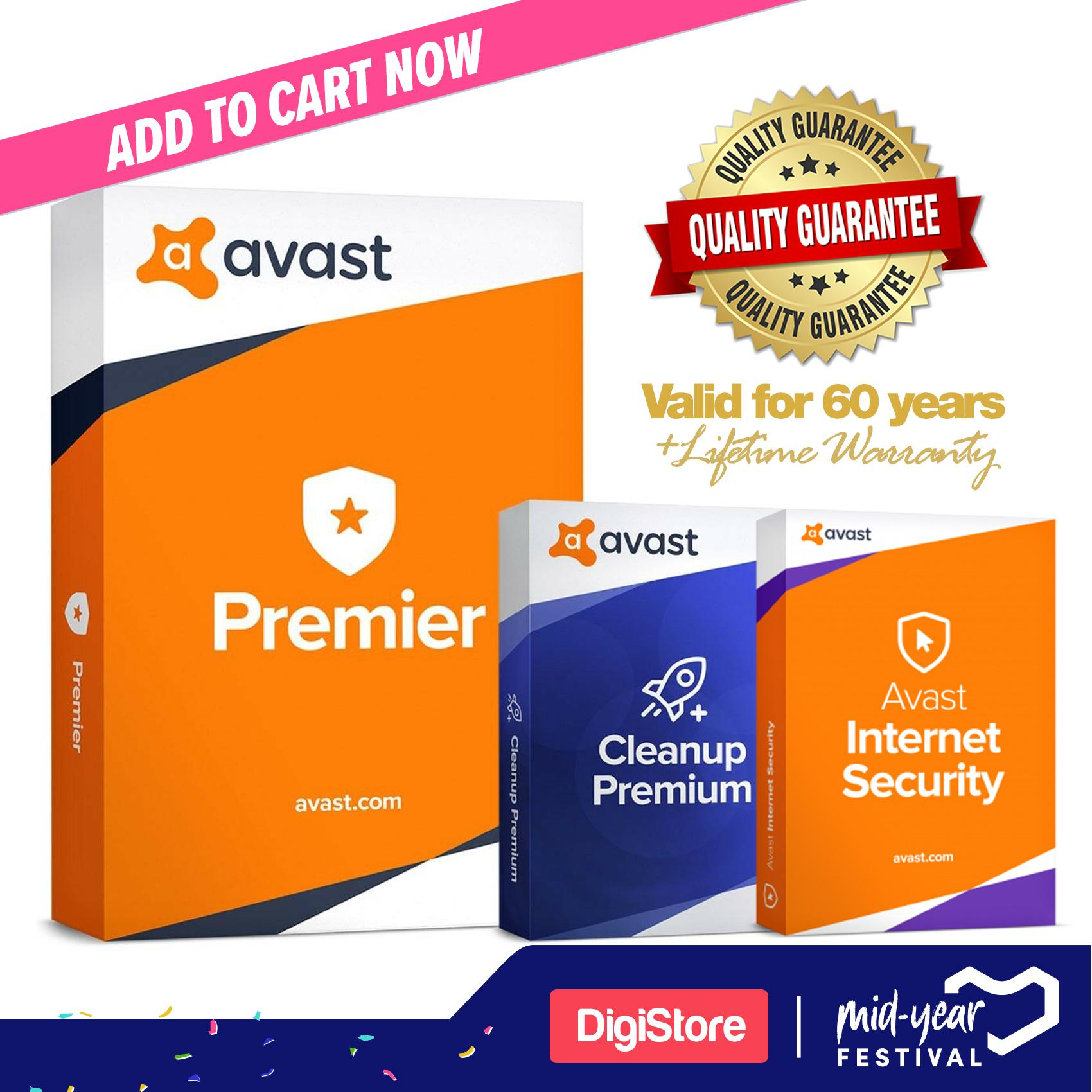 Avast Premier 2019 Antivirus + Avast Internet Security 60 years + Avast  Clean Up Premium Licence Genuine Product Key for 5 PC for Full Warranty  Fast