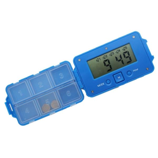 Daily 6 Times Tablets Pill Box Medicine Pill Case Organizer Led Timer Reminder Storage Pill Dispenser Alarm Clock 6 Grids