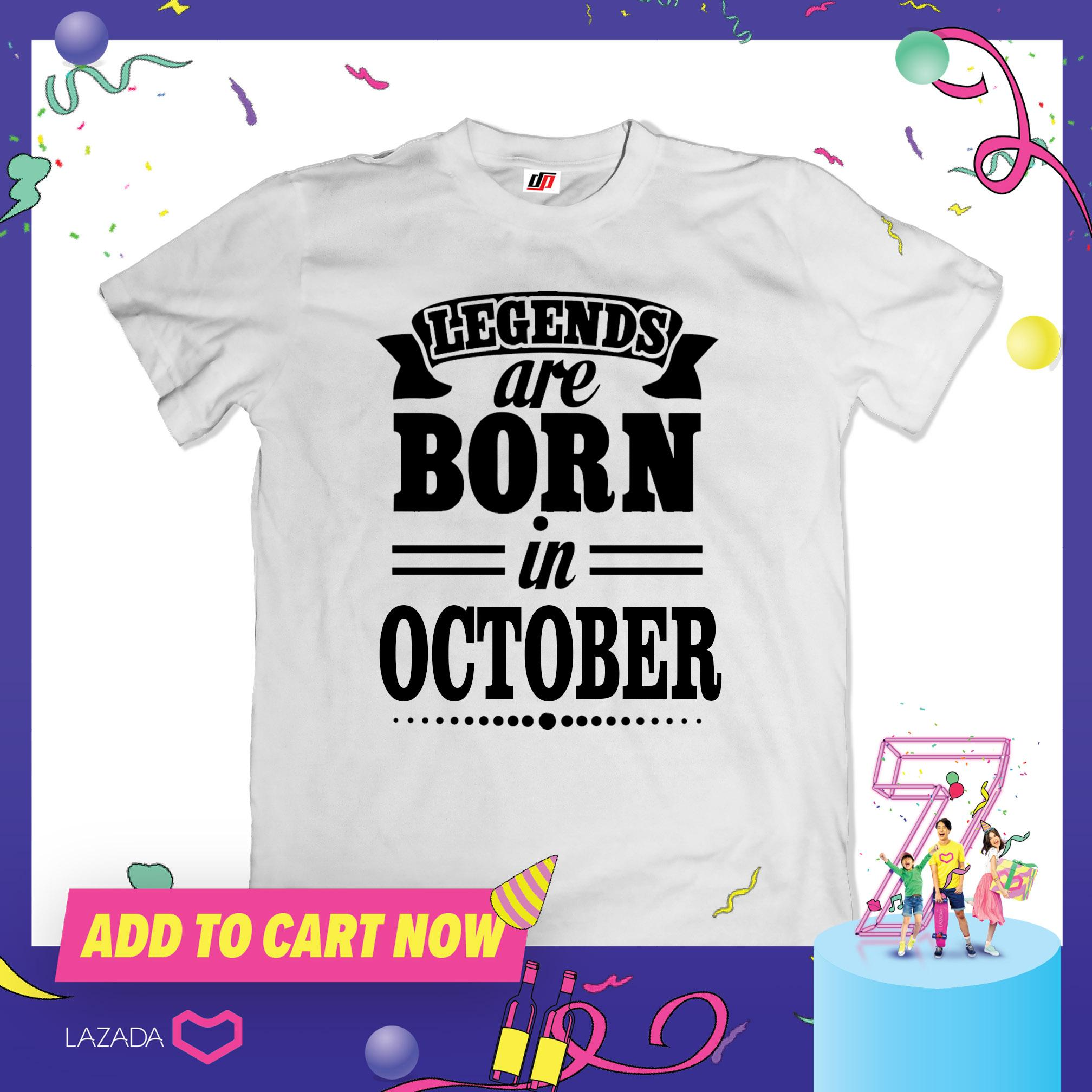 DesignPlus Legends Are Born 04 In October Statement T Shirt Mens