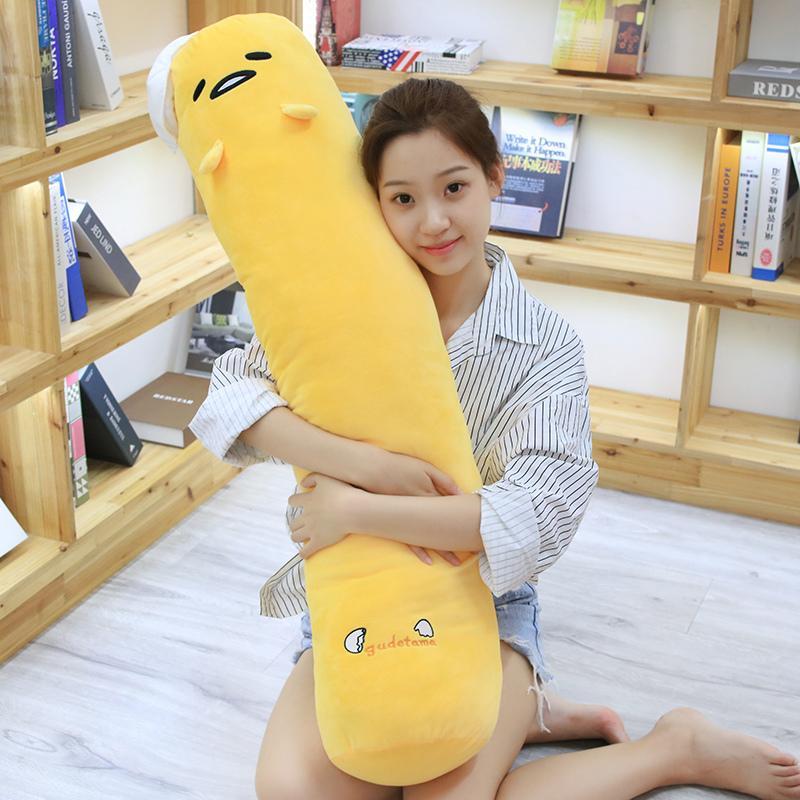 Yolk King Lazy Eggs Plush Toy Doll Gudetama Cylindrical Strip Boyfriend Pajama Pillow Back throw pillow