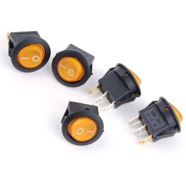 5Pcs 12V 16A LED ON/OFF Round Rocker Switch Car Dash Dashboard Boat - thumbnail