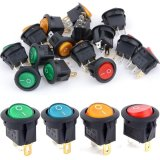 5Pcs 12V 16A LED ON/OFF Round Rocker Switch Car Dash Dashboard Boat - thumbnail 1