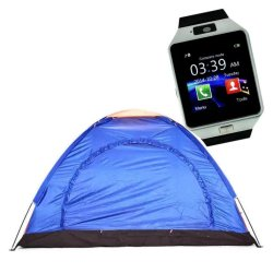 6-Person Dome Camping Tent (Multicolor) With M9 Intelligent Phone Quad Smart Watch with Sim Card Slot (Silver)
