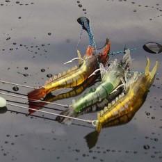 3pcs Soft Lures Artificial Shrimp Hooks Fishing Baits - intl