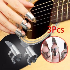 3PCS Stainless Steel Finger Picks For Plectrums Dobro Banjo Or Banjo Pick Set - intl