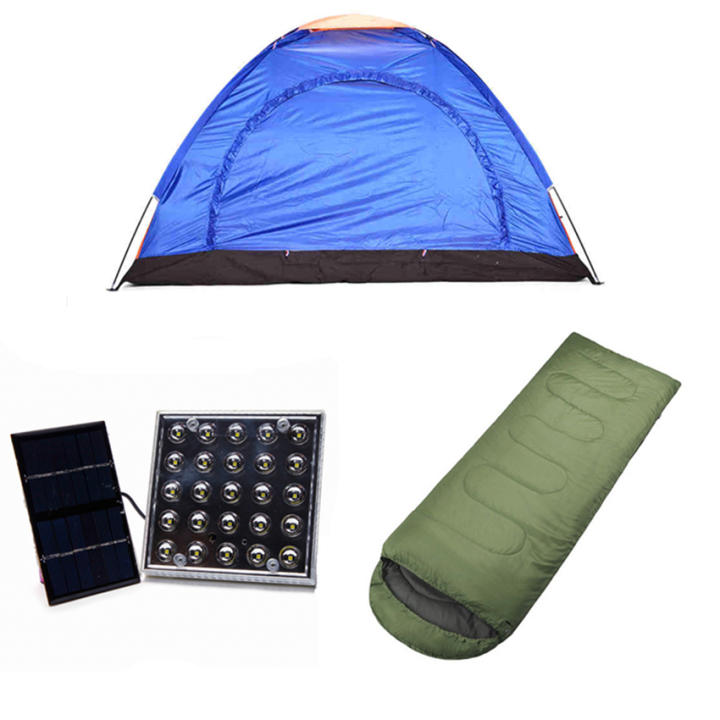 4-Person Dome Camping Tent with Solar LED Lamp and Outdoor Sleeping Bag Bundle