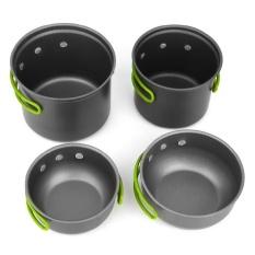 4pcs Cooking Bowl Pot Pan Set Outdoor Backpacking Camping Picnic Equipment - intl