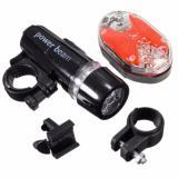 2x 5 LED Lamp Bike Bicycle Front Head Light Safety Waterproof  Flashlight Black