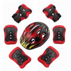 7pcs / Set Of Childrens Protective Equipment Skating Bike Head Knee Elbow Pads (black) - Intl By Topinlife.
