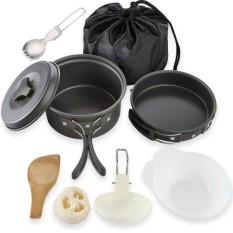 DE 9 Pcs/Set Outdoor Camping Cookware Kit Gear Hiking Cooking Equipments