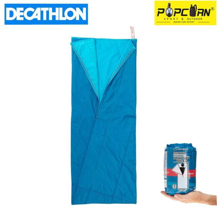 Decathlon ARPENAZ HIKER'S 25 Degrees Foldable & Portable Lightweight Outdoor Camping Sleeping Bag with Elastic Strap(Blue)