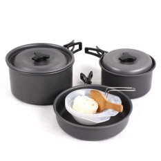 Hewolf 8pcs/set Aluminmum Portable Outdoor Camping Hiking Cookware Backpacking Cooking Picnic Bowl Pot Pan