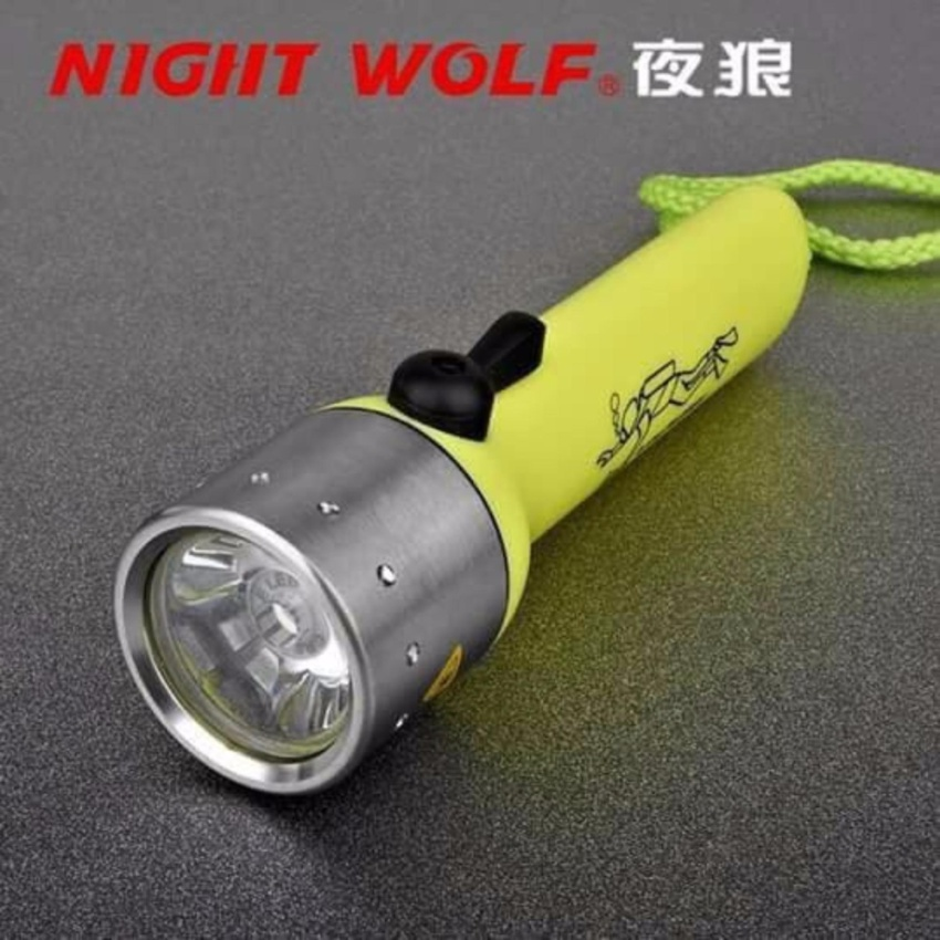 LED Waterproof Diving Flashlight With Hand Strap Fluorescent Green